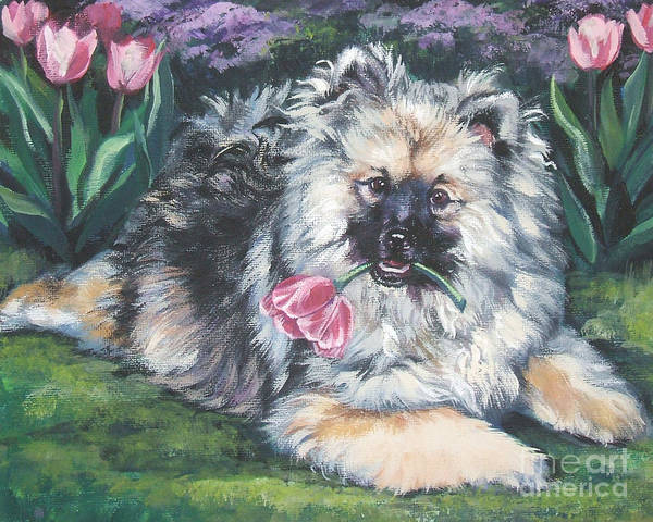 Pup Painting - Keeshond In The Tulips by Lee Ann Shepard