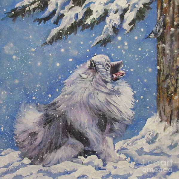Wall Art - Painting - Keeshond In Wnter by Lee Ann Shepard