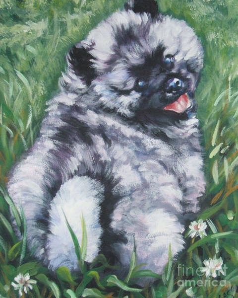 Pup Painting - Keeshond Pup In Clover by Lee Ann Shepard