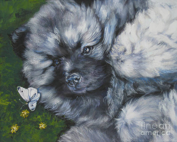 Pup Painting - Keeshond Pup With Butterfly by Lee Ann Shepard