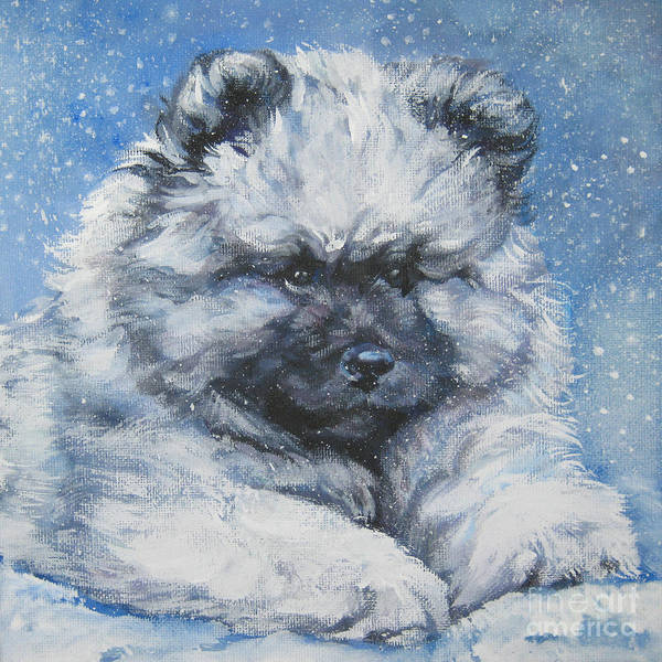 Pup Painting - keeshond Puppy in the Snow by Lee Ann Shepard