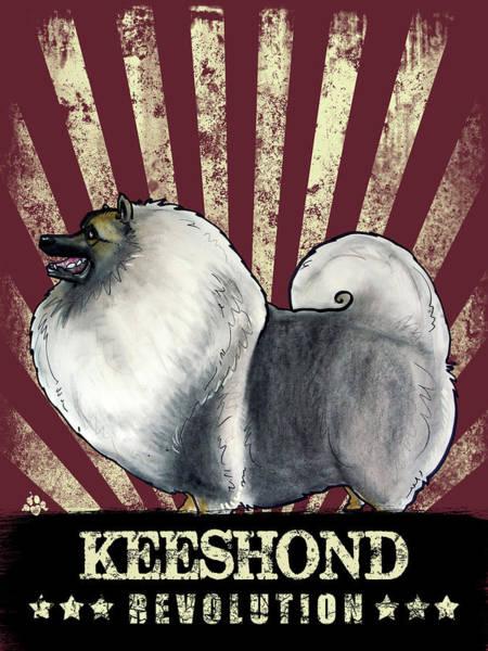 Propaganda Drawing - Keeshond Revolution by John LaFree