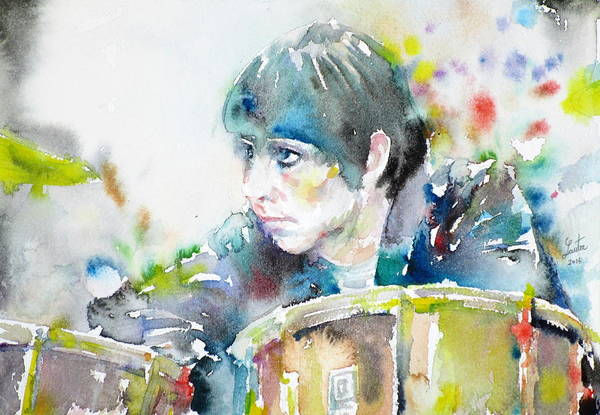 Wall Art - Painting - Keith Moon - Watercolor Portrait by Fabrizio Cassetta