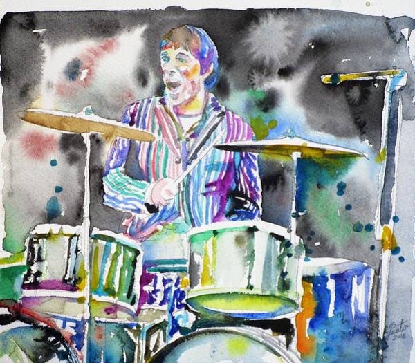 Wall Art - Painting - Keith Moon - Watercolor Portrait.3 by Fabrizio Cassetta