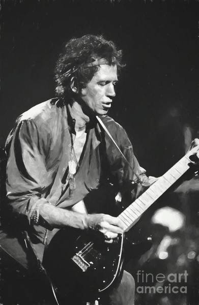 Rolling Stones Painting - Keith Richards Painting by Concert Photos