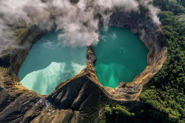 Photograph - Kelimutu Volcanic Crater From Above, Indonesia by Pradeep Raja PRINTS