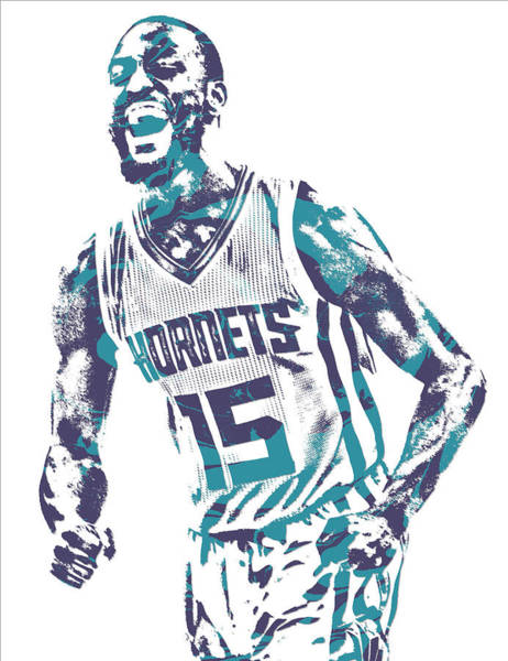 Wall Art - Mixed Media - Kemba Walker Charlotte Hornets Pixel Art 25 by Joe Hamilton