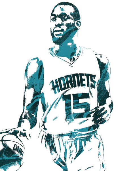 Wall Art - Mixed Media - Kemba Walker Charlotte Hornets Pixel Art 5 by Joe Hamilton