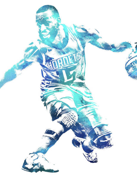 Wall Art - Mixed Media - Kemba Walker Charlotte Hornets Water Color Pixel Art 1 by Joe Hamilton
