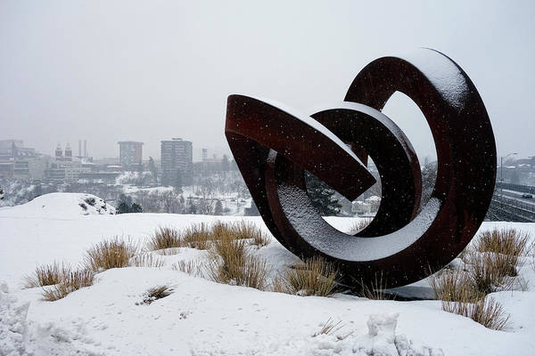 Wall Art - Photograph - Kendall Yards - Centennial Trail - Winter Storm - Spokane by Daniel Hagerman