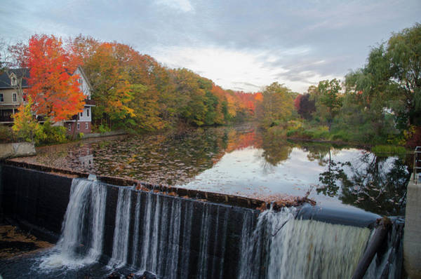 Photograph - Kennebunk Maine - Mousam River Dam In Autumn by Bill Cannon