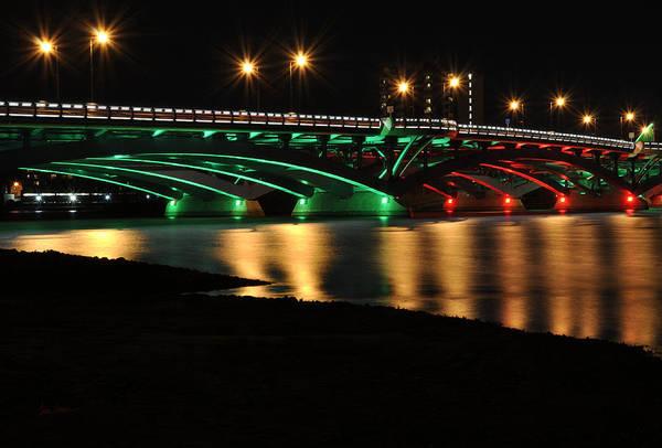 Photograph - Kenneth F. Burns Memorial Bridge- Christmas Lights by Luke Moore