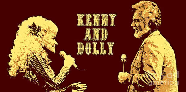 Gold Painting - Kenny And Dolly Poster by Pd