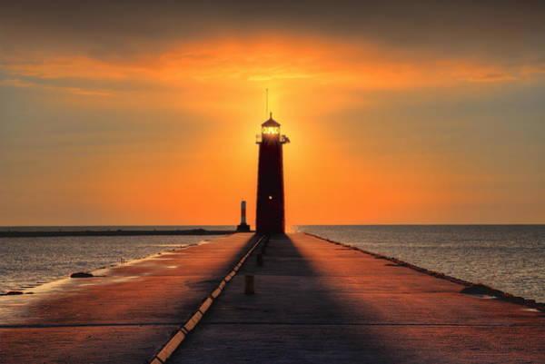 Photograph - Kenosha Lighthouse Shining Light by Dale Kauzlaric