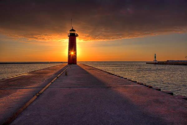 Photograph - Kenosha Lighthouse Sunrise by Dale Kauzlaric