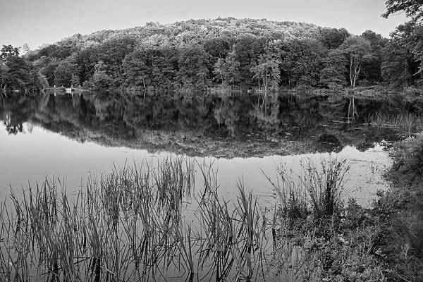 Photograph - Kenoza Lake Reflection Haverhill Ma Black And White by Toby McGuire