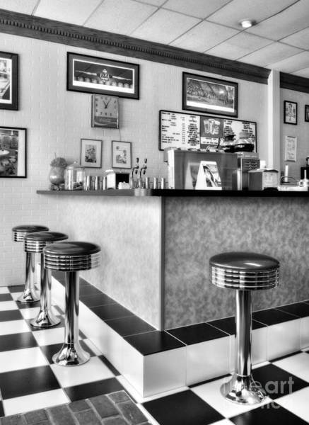Photograph - Kentucky Blue Diner Bw by Mel Steinhauer