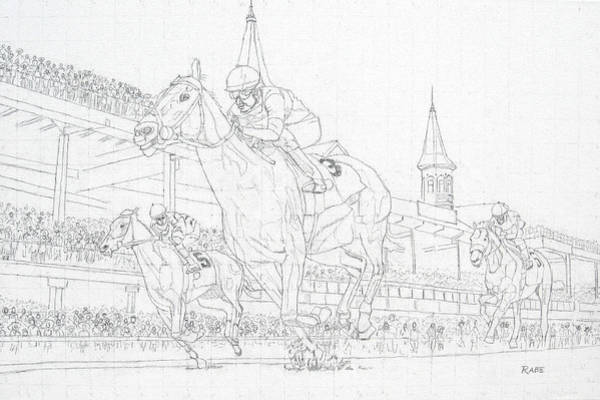 Equestrian Drawing - Kentucky Derby - Win, Place, Show by Mike Rabe