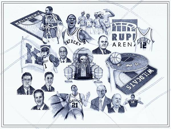 Nba Drawing - Kentucky Icons by Tanya Crum