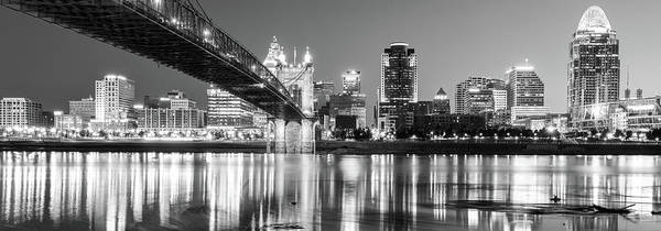 Photograph - Kentucky View Of The Cincinnati Ohio Skyline - Black And White Panorama by Gregory Ballos
