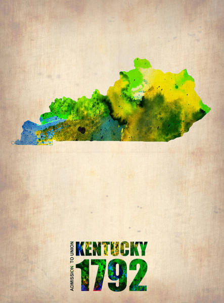 Wall Art - Painting - Kentucky Watercolor Map by Naxart Studio