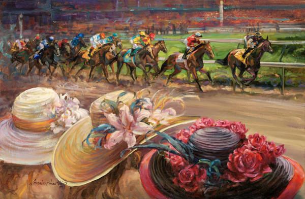 Wall Art - Painting - Kentucky Derby Ladies by Laurie Snow Hein