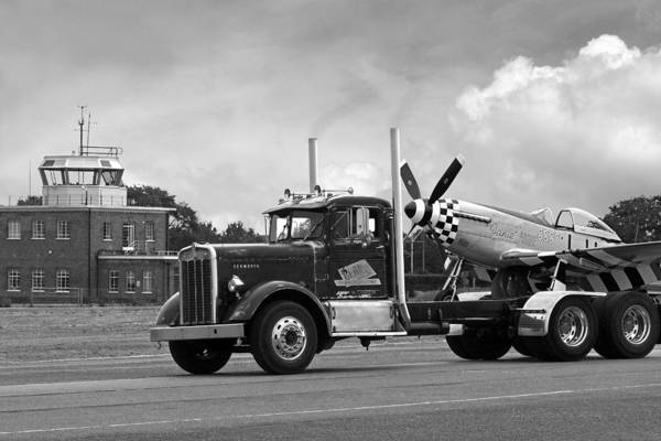 Wall Art - Photograph - Kenworth Hauling P-51 Black And White by Gill Billington