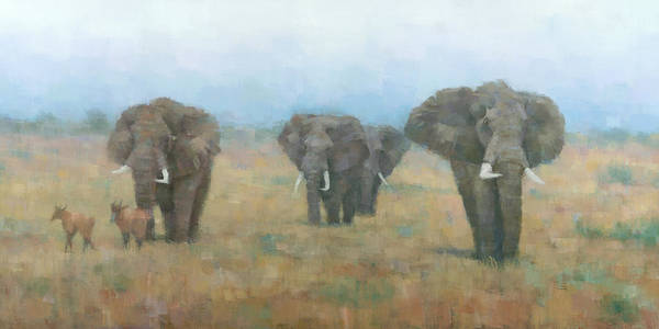 Wall Art - Painting - Kenyan Elephants by Steve Mitchell