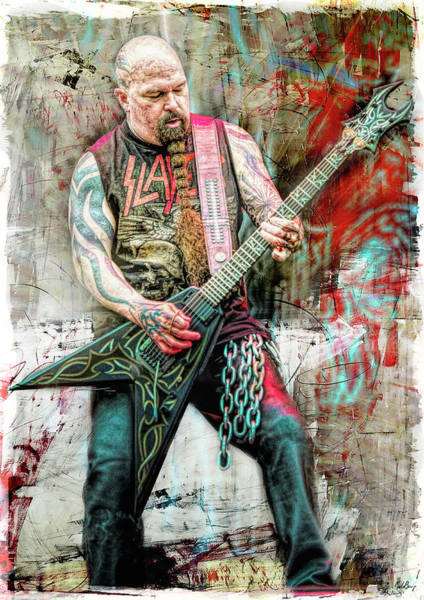 Jeff Hanneman Wall Art - Mixed Media - Kerry King, Slayer by Mal Bray