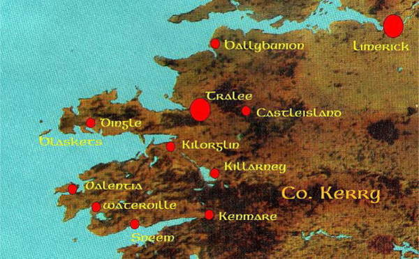 Painting - Kerry Placenames Map by Val Byrne