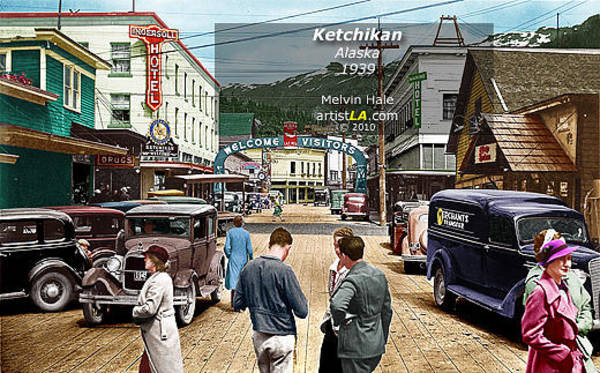 Wall Art - Painting - Ketchikan Alaska C1939 By Melvin Hale Artistla by Melvin Hale