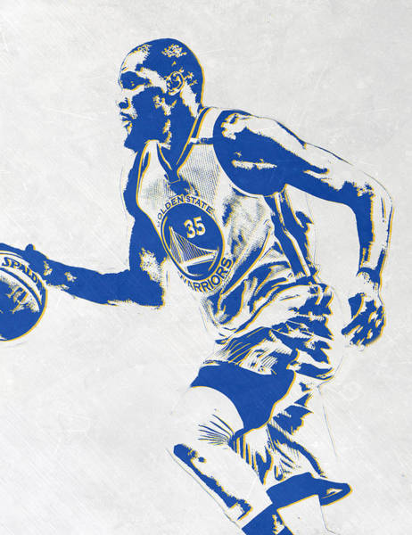 Golden Mixed Media - Kevin Durant Golden State Warriors Pixel Art by Joe Hamilton
