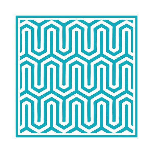 Robin's Egg Blue Digital Art - Key Maze With Border In Robin's Egg Blue by Custom Home Fashions