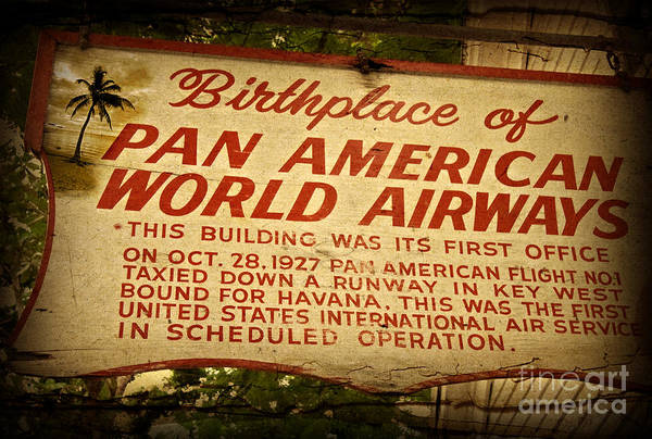 Wall Art - Photograph - Key West Florida - Pan American Airways Birthplace Sign by John Stephens