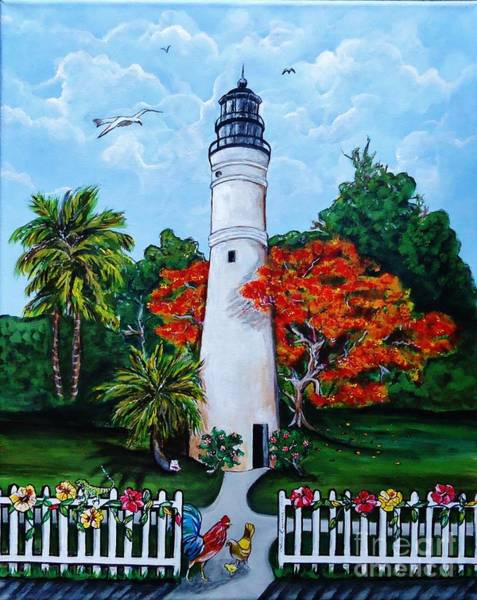 Wall Art - Painting - Key West Lighthouse And Friends by Lois Rivera