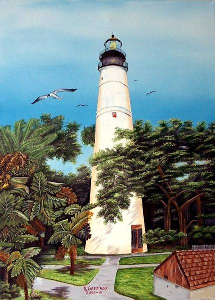 Seagulls Mixed Media - Key West Lighthouse by Riley Geddings