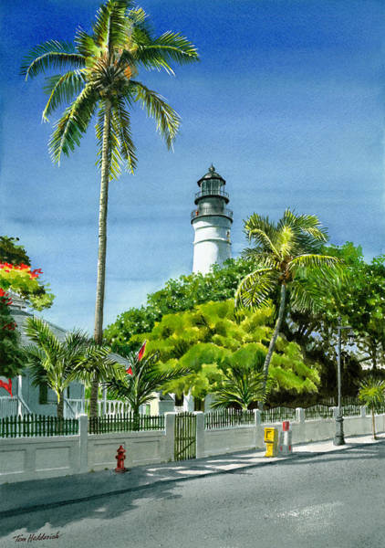 Wall Art - Painting - Key West Lighthouse by Tom Hedderich