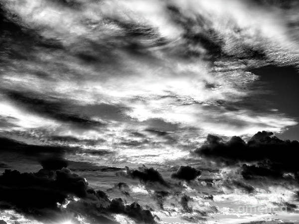 Photograph - Key West Sunset Clouds Monochrome by John Rizzuto