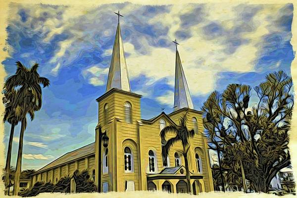 Photograph - Key West Yellow Church by Alice Gipson