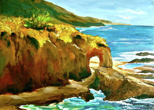 Laguna Beach Painting - Keyhole Rock by Sarah  Cassidy