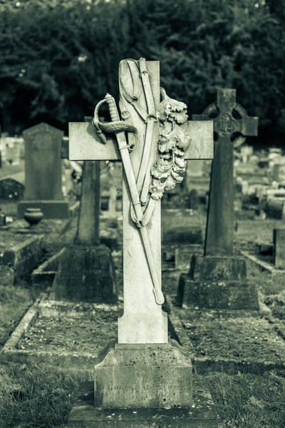 Photograph - Keynsham Cemetery, Black And White Photography, Cross And Sword by Jacek Wojnarowski