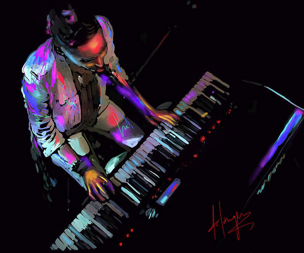 Sax Painting - Keys From Above by DC Langer