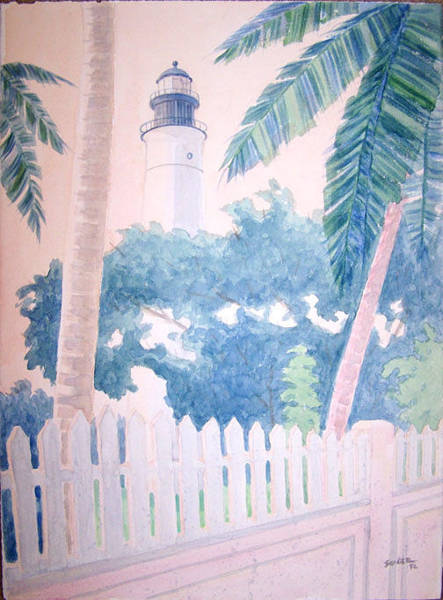 Wall Art - Painting - Keywest Lighthouse by Al Soler