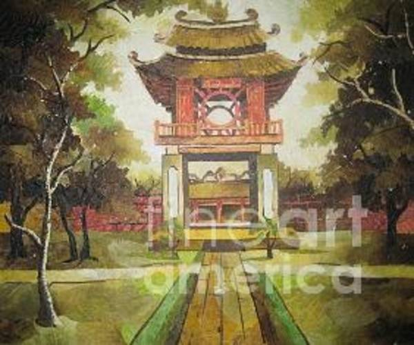 Wall Art - Painting - Khue Van Cac The Gate Of The First University Of Vietnam Since Early 19th Century by Tran Thu Thuy