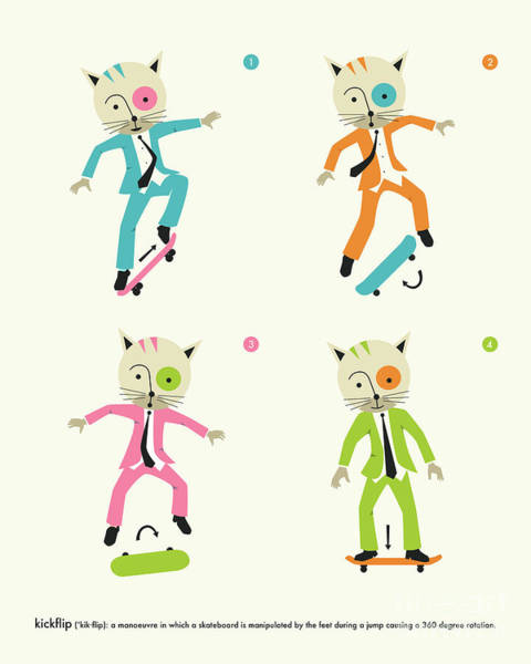 For Digital Art - Kickflip Cat by Jazzberry Blue