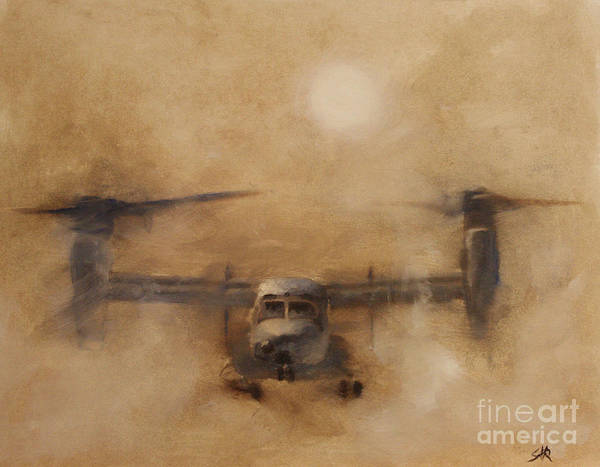 Helicopter Painting - Kicking Sand by Stephen Roberson