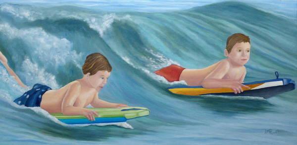 Jared Wall Art - Painting - Kids Bodyboarding by Angeles M Pomata