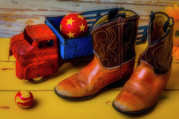 Wall Art - Photograph - Kids Boots And Toy Truck by Garry Gay