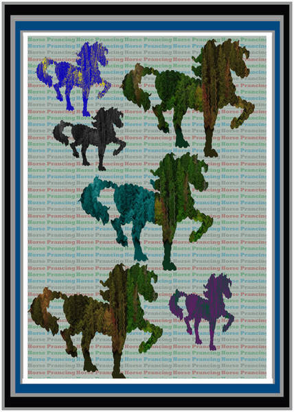 Rights Managed Images Wall Art - Mixed Media - Kids Fun Gallery Horse Prancing Art Made Of Jungle Green Wild Colors by Navin Joshi