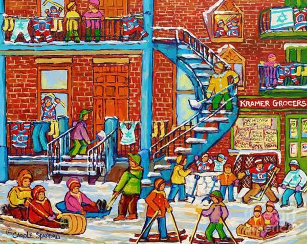Painting - Kids Winter Playground Kramer's Grocer Street Scene Toboggan Skiiers Hockey Art Canadian Paintings   by Carole Spandau